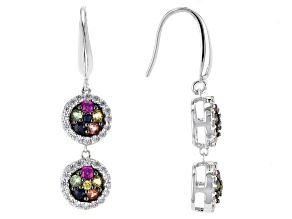 Multi-Sapphire Sterling Silve Earrings 1.72ctw