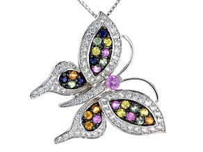Multi-Sapphire Sterling Silver Butterfly Pendant With Chain 2.55ctw