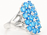Blue Neon Apatite Sterling Silver Ring 2.86ctw
