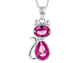 Pink Lab Created Sapphire Sterling Silver Cat Pendant With Chain 3.45ctw