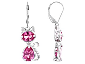 Pink Lab Created Sapphire Sterling Silver Cat Earrings 6.90ctw