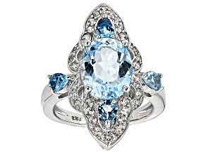 Sky Blue Topaz Sterling Silver Ring 4.40ctw