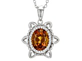 Orange Brazilian Madeira Citrine Sterling Silver Pendant With Chain 1.48ct