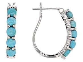Blue Sleeping Beauty Turquoise Rhodium Over Sterling Silver Hoop Earrings