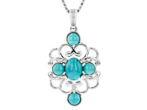 Blue Turquoise Sterling Silver 5-Stone Pendant With Chain