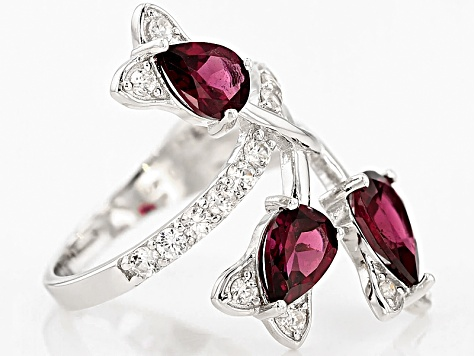 Raspberry Color Rhodolite Sterling Silver Ring 3.01ctw