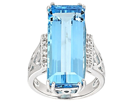 Sky Blue Topaz Sterling Silver Ring 16.43ctw