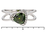 Green Chrome Diopside And White Zircon Sterling Silver Ring 1.41ctw