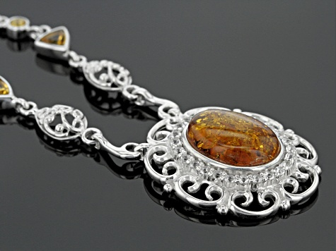 Orange Amber Sterling Silver Necklace 1.70ctw