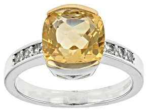 Yellow Golden Citrine Sterling Silver Ring 3.36ctw