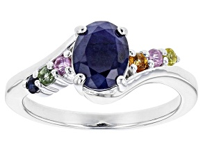 Blue Sapphire Sterling Silver Ring 1.61ctw