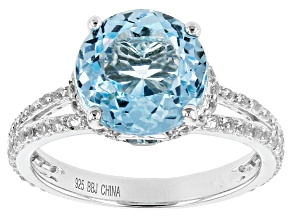 Sky Blue Topaz Sterling Silver Ring 5.92ctw