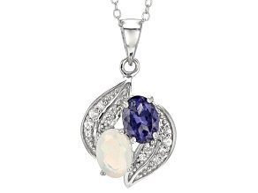Blue Iolite And White Zircon Sterling Silver Pendant With Chain .99ctw