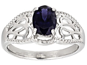 Blue Iolite Sterling Silver Ring .85ct
