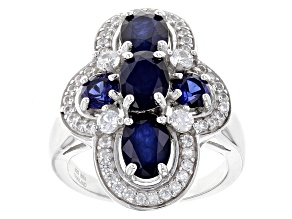 Blue Sapphire Sterling Silver Ring 4.09ctw