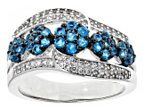 Neon Blue Apatite Sterling Silver Band Ring 1.01ctw