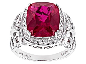 Red Lab Created Ruby Sterling Silver Ring 5.62ctw