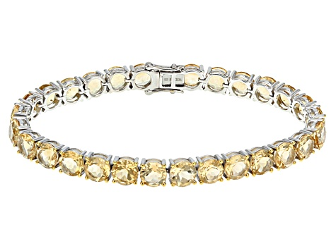Yellow Citrine Sterling Silver Tennis Bracelet 33.60ctw