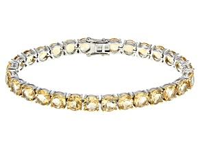 Yellow Citrine Sterling Silver Tennis Bracelet 33.60ctw