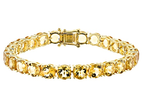 Yellow Citrine 18k Gold Over Silver Bracelet 27.66ctw