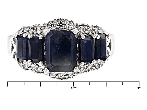 Blue Sapphire And White Zircon Sterling Silver Ring 3.41ctw