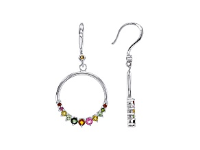 Multi-Tourmaline Rhodium Over Sterling Silver Dangle Hoop Earrings .76ctw