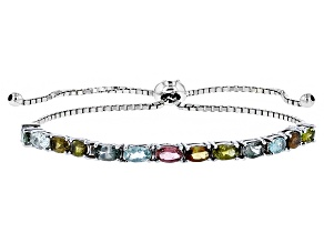 Multi-Tourmaline Rhodium Over Sterling Silver Sliding Adjustable Bracelet 2.34ctw