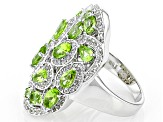Green Peridot Sterling Silver Ring 3.38ctw