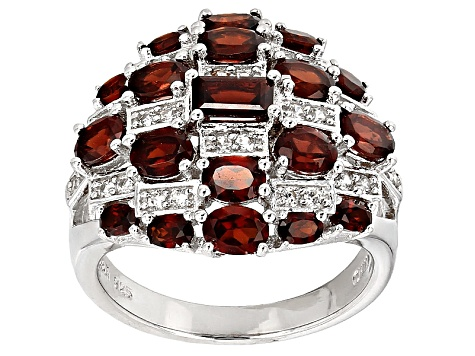 Red Garnet Sterling Silver Ring 3.69ctw