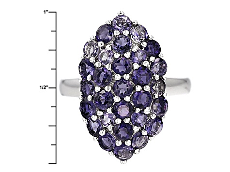 Blue Iolite Sterling Silver Ring 2.85ctw