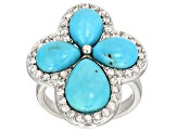 Blue Turquoise Sterling Silver Cross Ring .84ctw