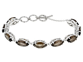 Brown Smoky Quartz Sterling Silver Bracelet 18.00ctw
