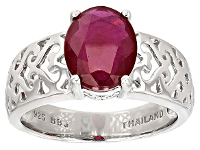 Mahaleo Ruby Sterling Silver Ring 2.97ctw