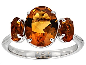 Orange Madeira Citrine Sterling Silver 3-Stone Ring 3.21ctw
