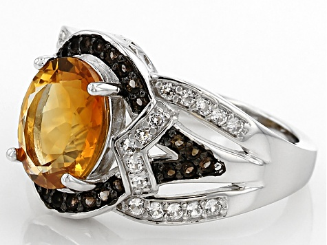 Orange Madeira Citrine Sterling Silver Ring 2.81ctw