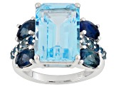 Sky Blue Topaz Sterling Silver Ring 10.38ctw