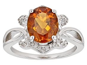 Orange Brazilian Madeira Citrine Sterling Silver Ring 1.83ctw