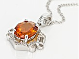 Orange Brazilian Madeira Citrine Sterling Silver Pendant With Chain 1.83ctw
