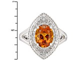 Orange Brazilian Madeira Citrine Sterling Silver Ring 2.10ctw