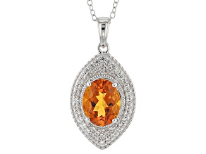 Orange Madeira Citrine Sterling Silver Pendant With Chain 1.74ctw