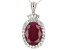 Red indian Ruby rhodium over sterling silver pendant with chain 10.30ctw