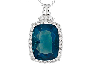 Teal Fluorite Sterling Silver Pendant With Chain 11.15ctw