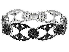 Black Spinel Sterling Silver Statement Bracelet 7.77ctw