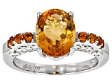 Orange Madeira Citrine Sterling Silver Ring 2.70ctw