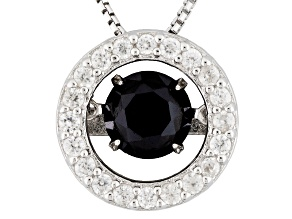 Black Dancing Spinel Silver Pendant With Chain Plus Extra Clasp 1.56ctw
