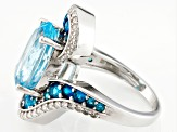 Sky Blue Topaz Sterling Silver Ring 8.88ctw