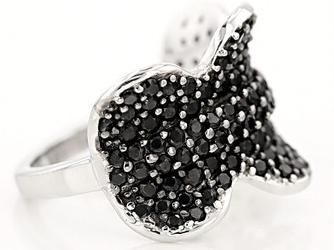 Black Spinel Sterling Silver Ring 2.54ctw