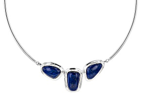 Blue Lapis Lazuli Sterling Silver 3-Stone Necklace