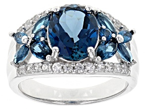 London Blue Topaz Sterling Silver Ring 4.32ctw