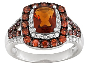 Orange Madeira Citrine Sterling Silver Ring 2.90ctw.